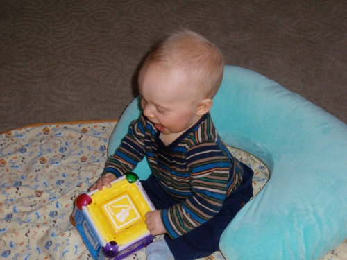 Shep at 7 months with Magic Mozart cube.